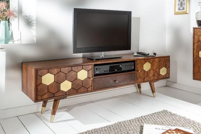 MIRAMISS - TV-möbel i massivt akaciaträ 140 cm