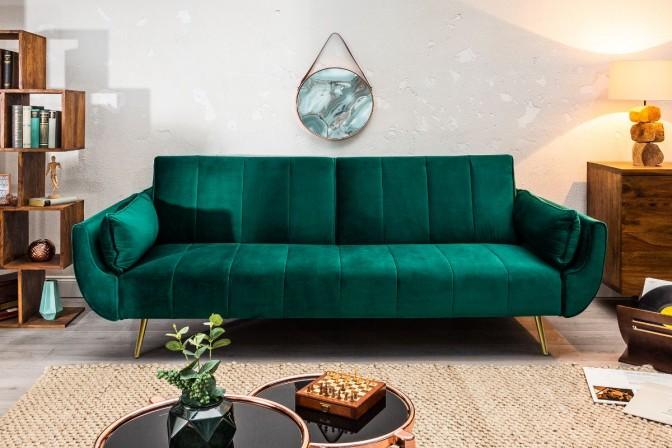 MIRAMISS - Lyxig bäddsoffa i smaragdgrön sammet 215 cm