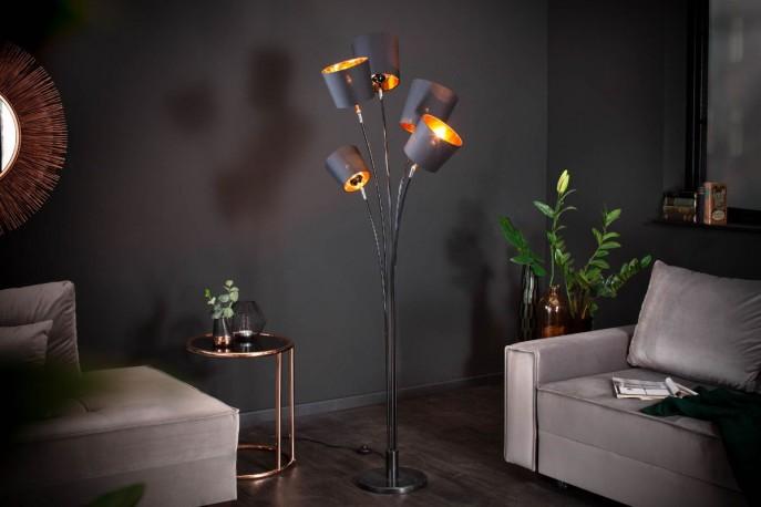 NIVÅ - golvlampa svart och guld 178 cm