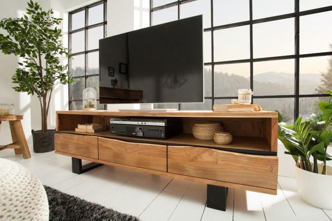 FINDY - Handgjord TV-möbel i akaciaträ 160 cm