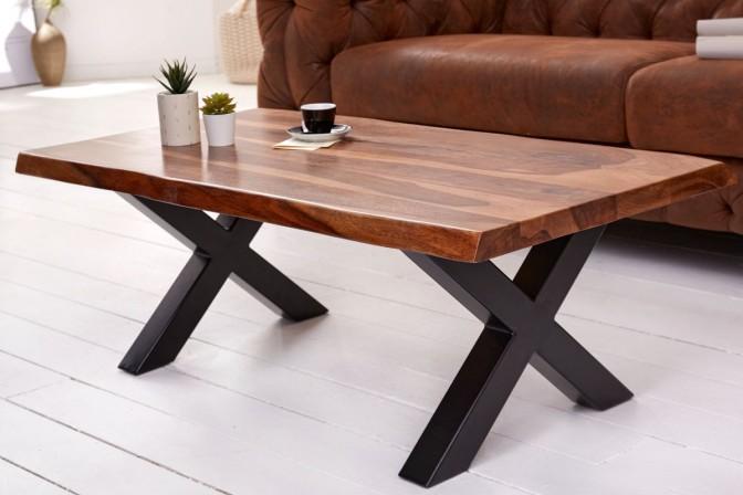 FINDY - Handgjort soffbord i sheshamträ 110 cm