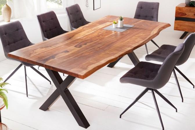 FINDY - Handgjort matbord i massivt sheshamträ 220 cm