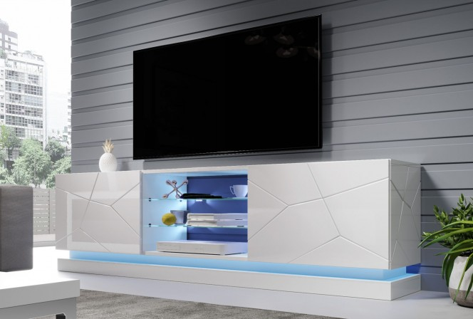 Babylon II - TV-bänk, LED, helglans, 200cm