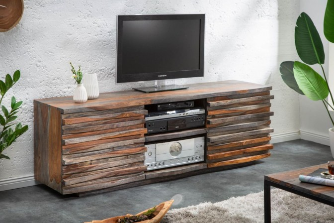 ROP - Handgjord TV-möbel i sheshamträ rökig