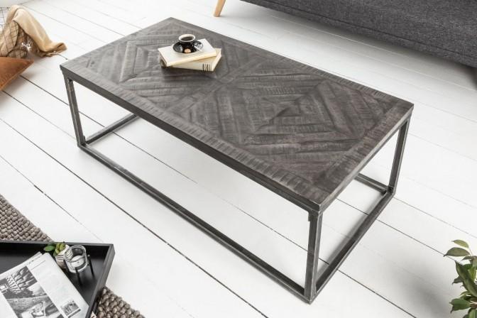 ANKPA - Handgjort soffbord i massivt mangoträ grå 100 cm