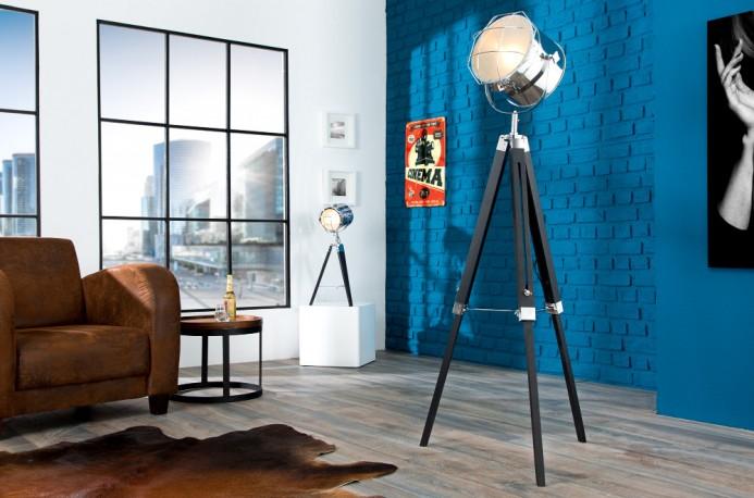 Stehleuchte Tripod 110-150cm schwarz chrom