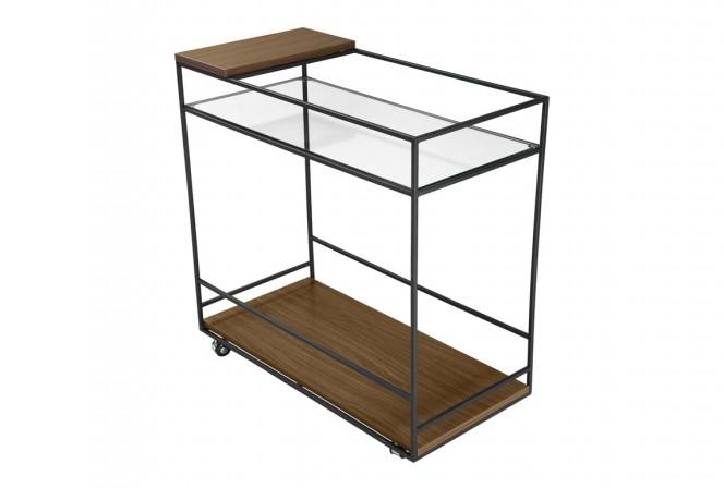 Mobile bar glass wood 80 x 40 x 80 cm