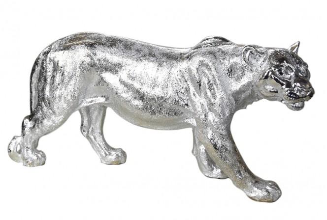 Silver lioness figure 78 x 16 x 36 cm
