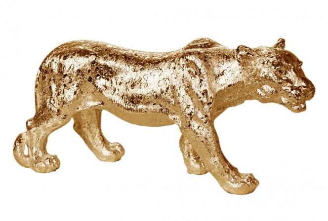 Golden lioness figure 52 x 14 x 25 cm