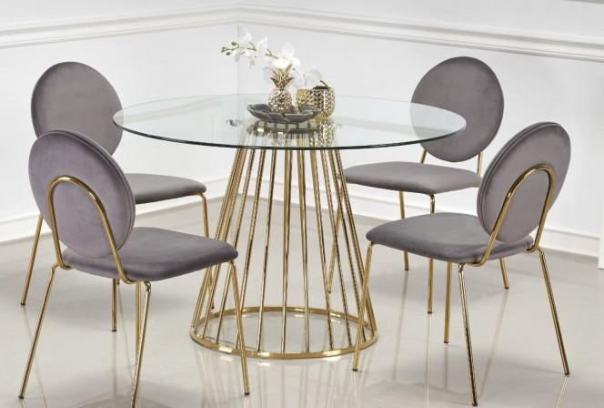 WENGER - Runt bord i glas och kromat stål 120 cm guld