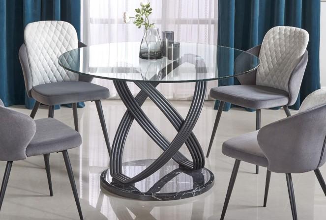 OPTIKO - Häftigt bord i modern design glas/stål 122 cm