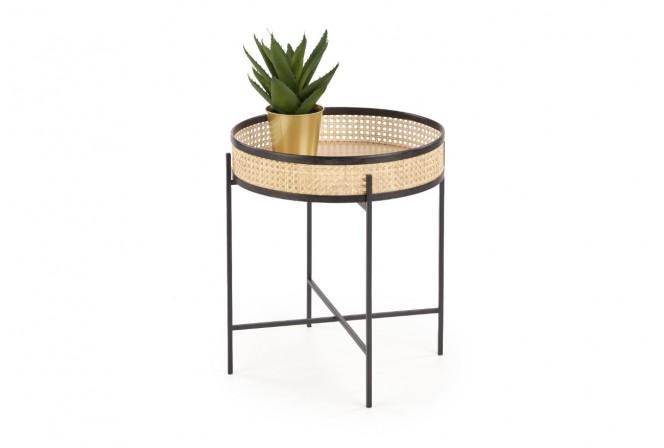 SALO - Smidigt sidobord i rotting och stål natur/svart 50 cm