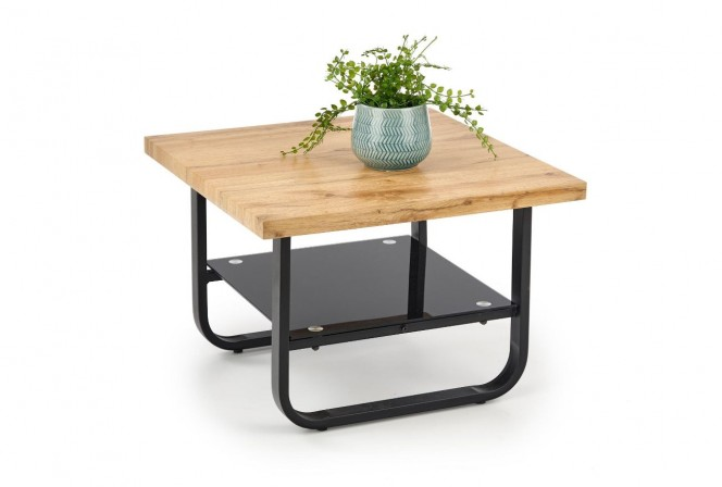 MARIA - Fyrkantigt soffbord i industriell stil naturek 65 cm