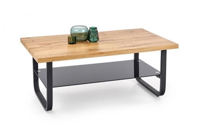 MARIA - Elegant soffbord i industriell stil natur/ek 120 cm