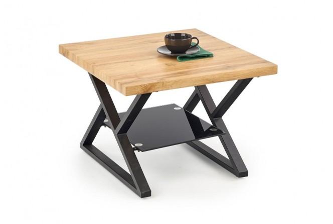 XENIA - Fyrkantigt soffbord med glas och fanér 60 cm