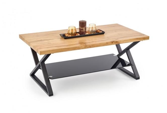 XENIA - Härligt soffbord i industriell stil naturek 110 cm