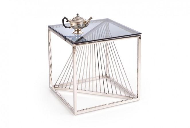 GRANSLOS - Fyrkantigt soffbord med rökigt glas 55x55 cm
