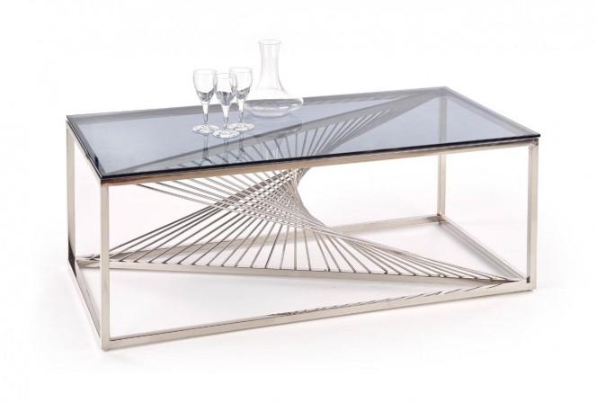 GRANSLOS - Elegant soffbord med rökigt glas 120 cm