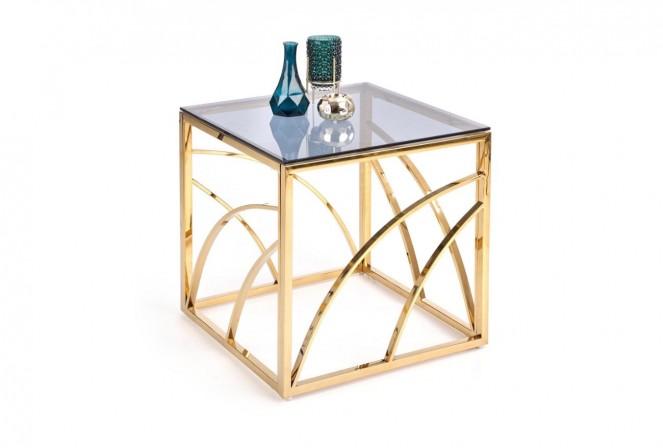 VINTERGATAN - Elegant fyrkantigt soffbord i guld/rökigt glas 55 cm