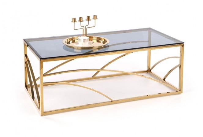 VINTERGATAN - Elegant soffbord i guld/rökigt glas 120 cm