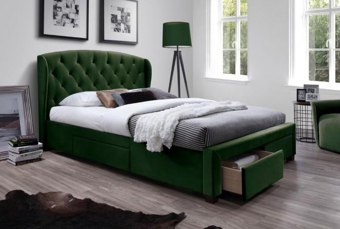 GINA - Elegant säng med praktiska lådor mörkgrön 218 cm