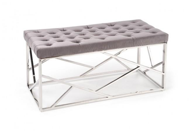 MILAGO - Sittbänk i silver och grått sammet 98 cm