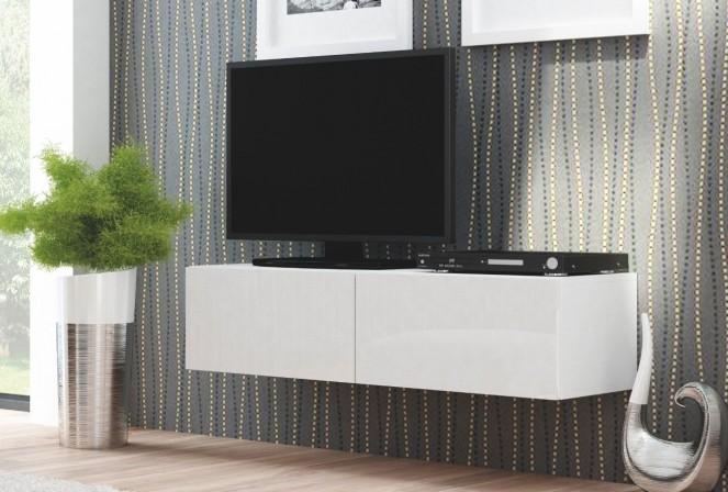NEA TRES - Elegant väggmonterad vitmatt TV-möbel 160 cm