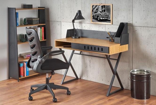 B-12 - Elegant skrivbord i gyllene ek/svart 110x51 cm