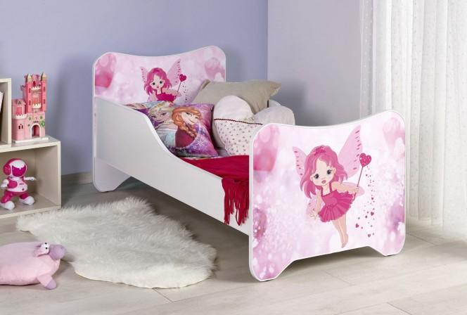 VITTRA - Sagolik barnsäng i vitt och rosa 145x76 cm