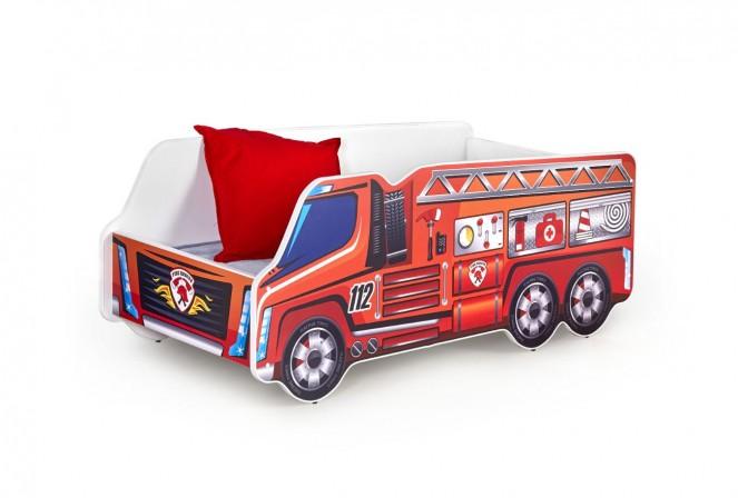 UTRYCKNING - Rolig barnsäng i form av en brandbil 148x74 cm