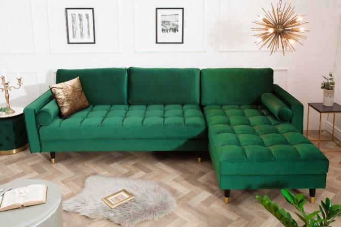 BELLANI - Mysig hörnsoffa med schäslong sammet smaragdgrön