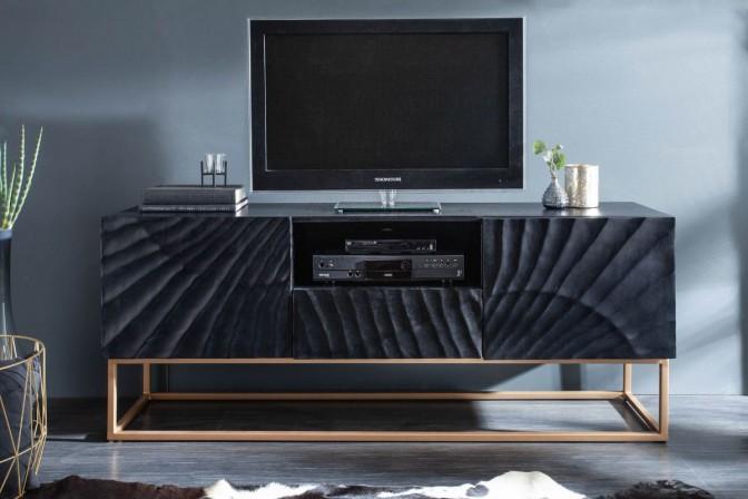 RENFE - Handgjord TV-möbel i massivt svart mangoträ 160 cm
