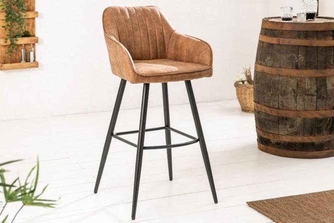 LANDOSA - Lyxig barstol i vintagebrun sammet 102 cm