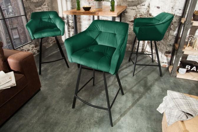 ELENOR - Bekväm barstol i lyxig sammet grön 100 cm