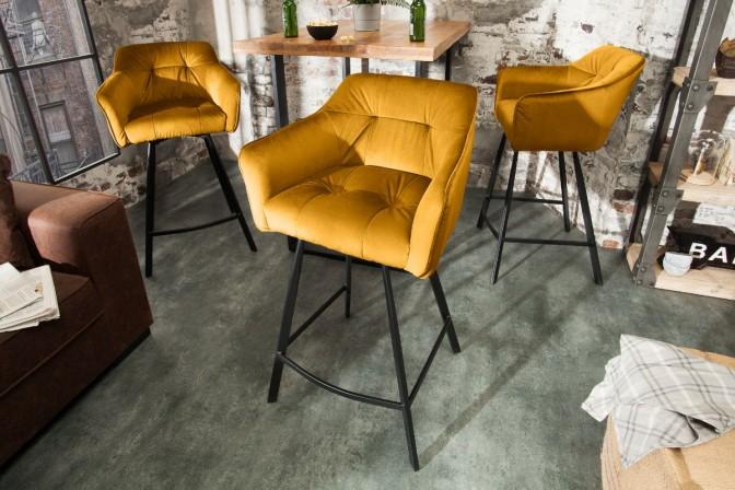 ELENOR - Bekväm barstol i lyxig sammet senapsgul 100 cm
