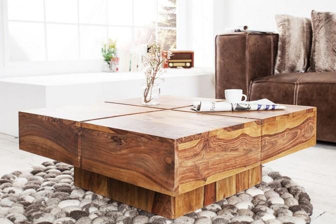HANOI - Elegant handgjort soffbord i naturträ 80x35 cm