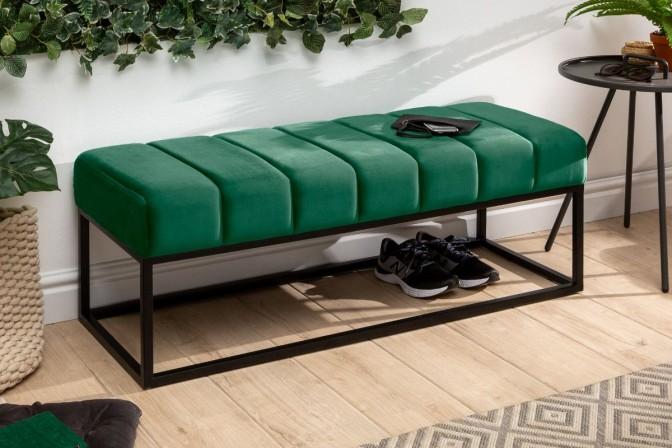 EMMANUEL - 110cm sittbänk I sammet smaragdgrön