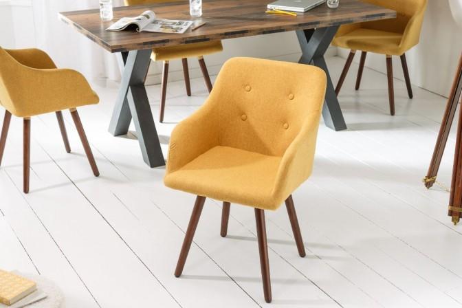 NORDIC - Trendig stol i strukturtyg senapsgul