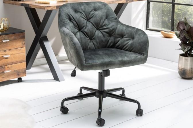 ELENOR - Justerbar kontorsstol grön sammet 82-90 cm