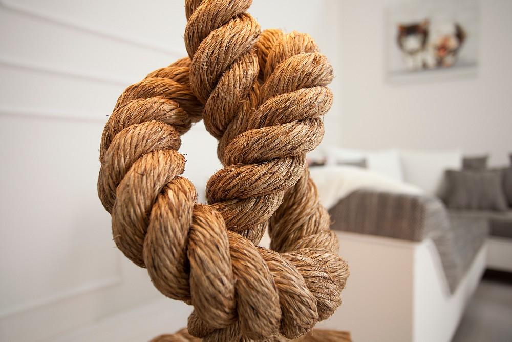 maritim extravagant handgjord lampa i handflätat rep och linnetyg