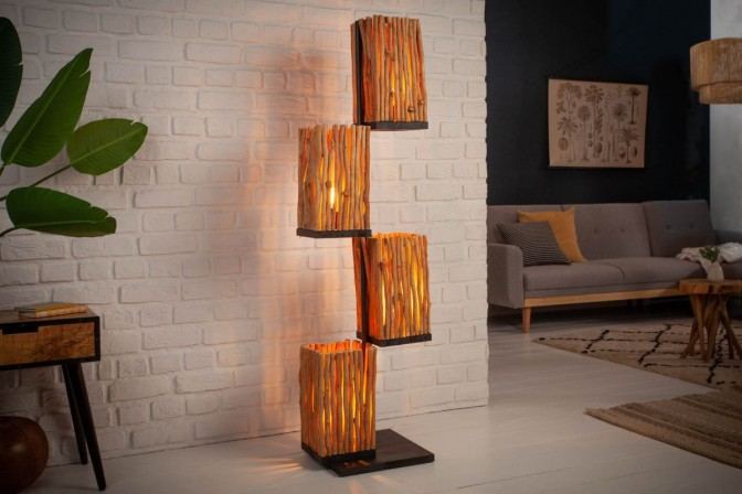 LEVA - Handgjord golvlampa i massivt trä 149 cm