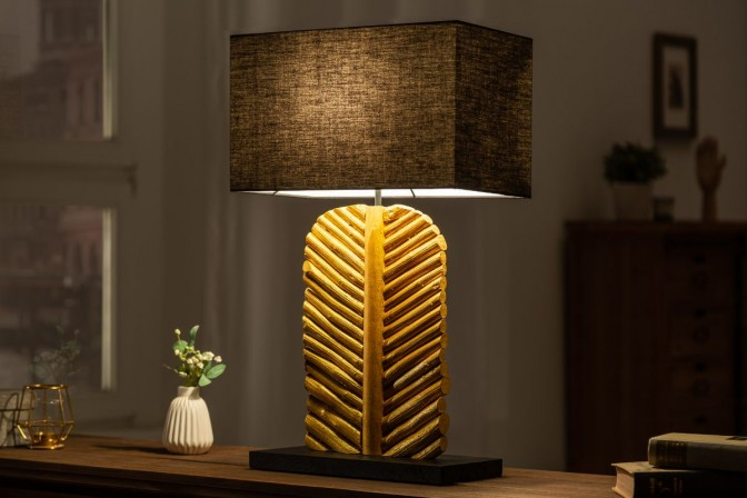 LEVA - Handgjord bordslampa i massivt trä guld/svart 63 cm