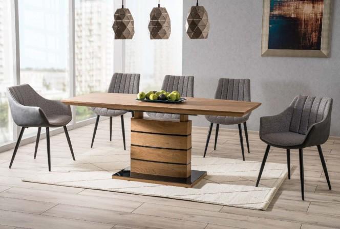 LEANDRO - 160cm matbord med förlängningsfunktion ekfärg