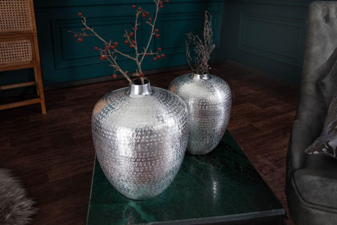 Vase Oriental set of 2 silver