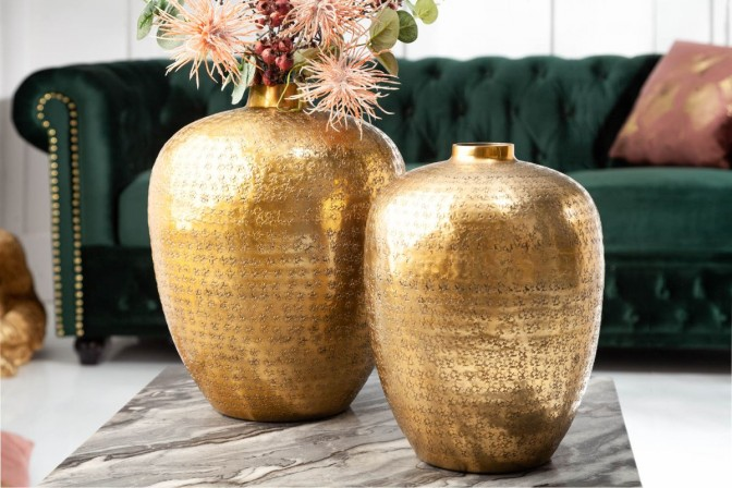 Vase Oriental set of 2 gold