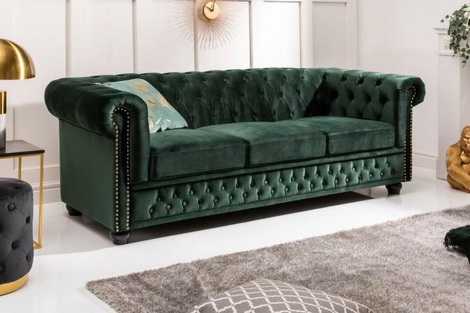 Chesterfield sofa 3 seater velvet green