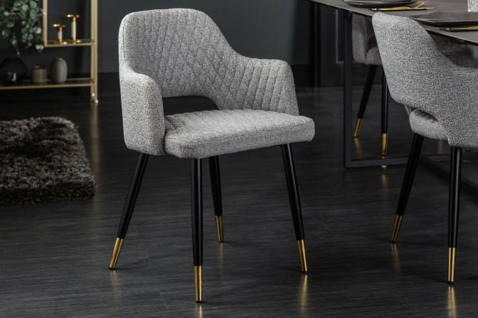 MONTMARTRE - Stol med strukturtyg ljusgrå svart guld