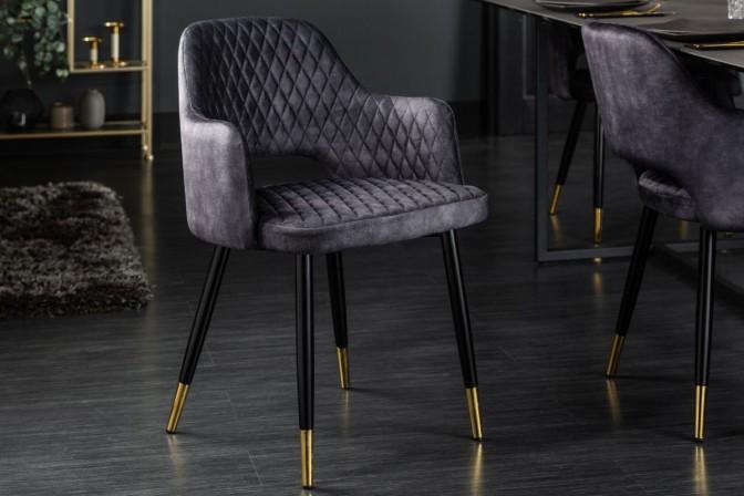 MONTMARTRE - Stol med sammetstyg grå