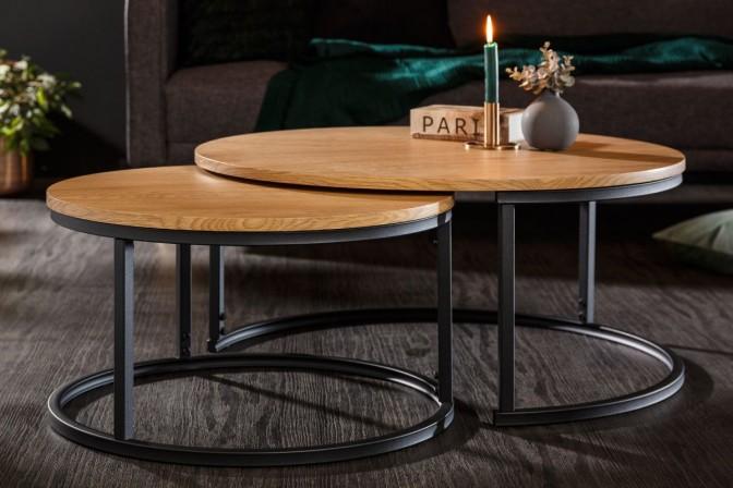 Studio coffee table set of 2 oak look