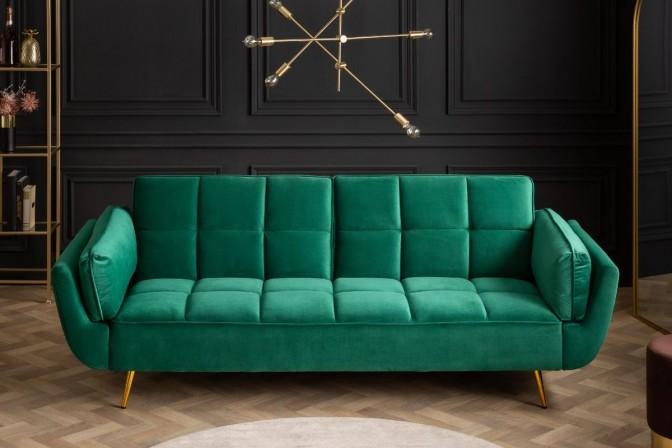 Boutique sofa bed emerald green velvet